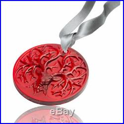 Lalique 2019 Reindeer Christmas Ornament Red #10685900 Brand Nib Crystal F/sh