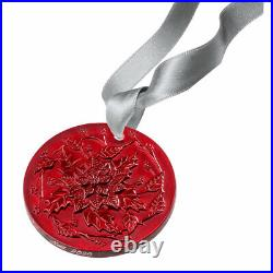 Lalique Crystal 2020 Poinsettia Christmas Ornament Red #10724800 Brand Nib F/sh
