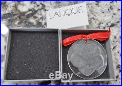 Lalique Hellebore Flower Christmas Ornament Clear Crystal Signed withBox/Cert