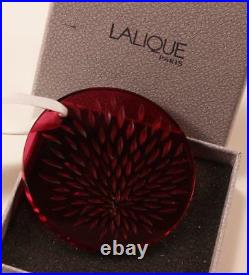 Lalique Vibrations Red Frosted Crystal 2006 Christmas Noel Ornament