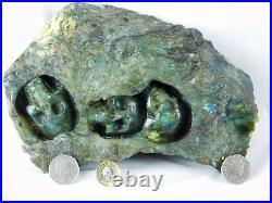 Large Labradorite Crystal Skull Carving -Decor Ornament Great Gift 3.2KG 9.5in