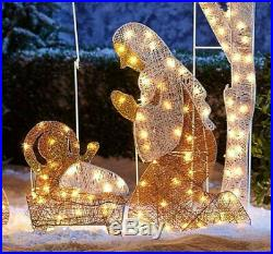 Large Nativity Scene Outdoor Christmas Decoration Crystal Light Up Holy Family