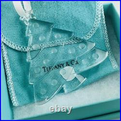 Large Tiffany & Co Crystal Glass Christmas Tree Holiday Ornament