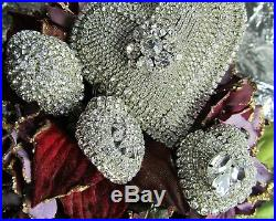 Large Victorian CRYSTAL RHINESTONE heart JEWELED CHRISTMAS FEATHER TREE ORNAMENT