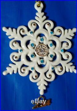 Lenox 2014 Annual Gemmed Snowflake Sapphire Blue Crystals 24K Gold RARE MIB