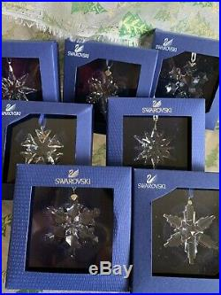 Little Swarovski Crystal Annual Snowflake Christmas Ornaments Bundle Of 7 06-12