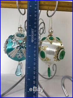 Lot Of 2 VTG June Zimonick Green Blue Christmas Ornaments With Austrian Crystals