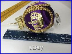 Lot Of 3 VTG June Zimonick Purple Gold Christmas Ornaments With Austrian Crystals
