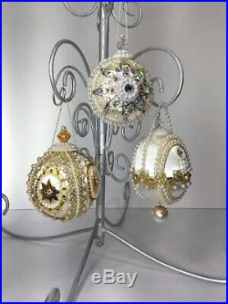 Lot Of 3 VTG June Zimonick White Gold Christmas Ornaments With Austrian Crystals