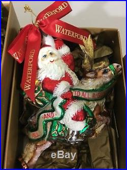 Lot Of 5 Waterford Crystal Christmas / Holiday Ornaments W Certificate Of Auth