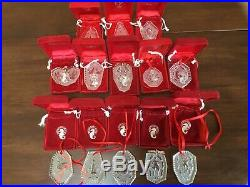 Lot of 13 Waterford Crystal 12 Days of Christmas Ornaments Set Plus 1979 1994