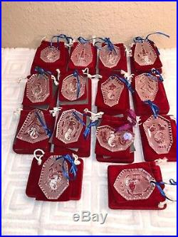 Lot of 14 Waterford Crystal 12 Days of Christmas Ornaments 1984-1995