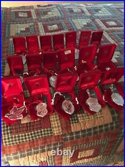 Lot of 18 Vintage Waterford Crystal Christmas Ornaments 1987-96/1998-05 Pristine
