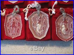 Lot of 18 Waterford Crystal 12 Days of Christmas Ornaments Set Plus 1978 1995