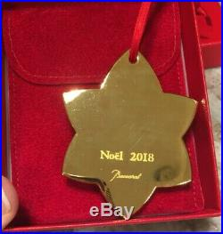 Lot of 2 Baccarat 2018 2017 Gold Annual Ornament Christmas Star Snowflake Noel