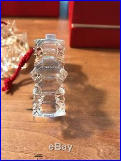 Lot of 3 BACCARAT Art Crystal 3D NOEL SNOWFLAKE Christmas ORNAMENT