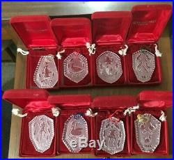 Lot of 8 Waterford Crystal OrnamentsTwelve Days of Christmas with Red Bags & Boxes