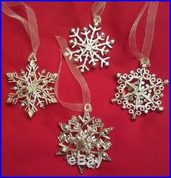 Lunt Reed & Barton Qty. 4 Jeweled Crystal Snowflake Christmas Ornaments