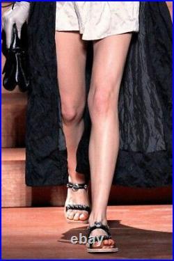 MIU MIU S/S 2013 RUNWAY Crystal Jeweled Ornament Black Sandals Shoes IT37/US7