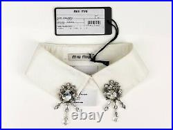 MIU MIU White Cotton Collar with Crystal Ornaments IT40/US6 NWT