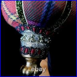 Mackenzie-child's Retired Velvet Floral, Beaded, Crystals, Double Tier Ornament