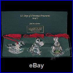 Marquis Waterford Crystal 12 Days Xmas 3rd Edition 3 Ornament Swans Maids Ladies