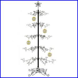 Metal Christmas Ornament Tree Display Stand Wrought Iron Trees 174 Hook 84H