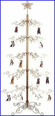 Metal Christmas Tree Wrought Iron Ornament Display Stand 174 Hook 84H Gold