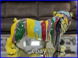 Multicolour Paint Splash Pop Art British Bulldog Crystal Ornament Figurine Dog