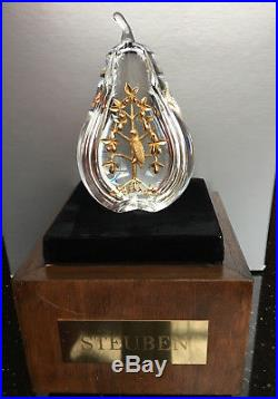 NEW Art Glass STEUBEN 18K GOLD PARTRIDGE PEAR TREE Crystal ornament heart XMAS