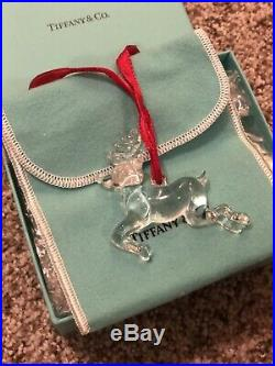 NEW Rare Tiffany & Co Crystal Reindeer Ornament Christmas Holiday Pouch Box Gift