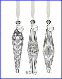 NEW Waterford 2018 Set of 3 ICICLE Crystal Christmas Tree Ornaments 40031796