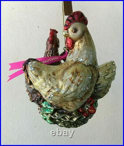 NEW in BOX JAY STRONGWATER 3 French Hens Glass ORNAMENT Swarovski Crystals