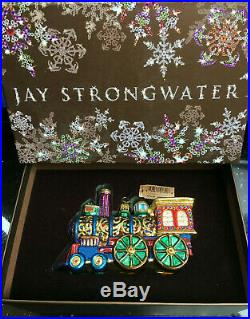 NEW in BOX JAY STRONGWATER TRAIN Christmas Ornament with Tag Swarovski Crystals