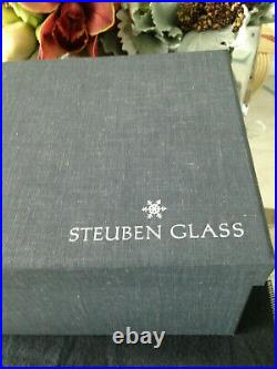 NEW in BOX STEUBEN Glass Air BUBBLE CHRISTMAS TREE Heart Holiday Gift Ornament