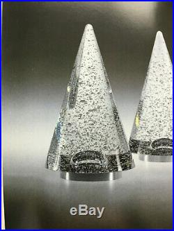 NEW in BOX STEUBEN Glass Air BUBBLE CHRISTMAS TREE ornament Heart Holiday Gift