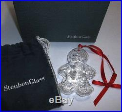 NEW in BOX STEUBEN art glass GINGERBREAD ornamental XMAS tree man woman boy girl