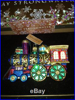 NEW in BOX/TAG JAY STRONGWATER TRAIN ORNAMENT CHRISTMAS SWAROVSKI CRYSTALS
