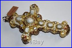 NEW in Box JAY STRONGWATER Cross Glass Ornament Golden Christmas Jewel CRYSTALS
