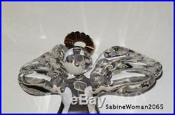 NEW in RED BOX STEUBEN art glass ANGEL 18K GOLD HALO crystal ornament XMAS heart