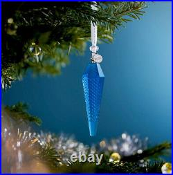 NIB 2020 Waterford Set Of 3 Topaz Mix Ombre Icicle Christmas Ornament #1055102