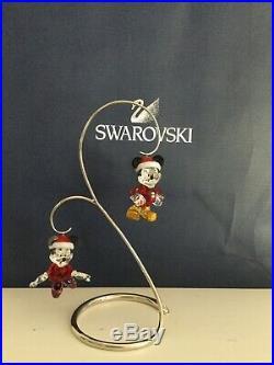 NIB Set of MICKEY and MINNIE MOUSE Disney Swarovski Crystal Christmas ornament