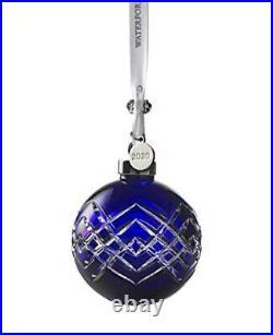 NIB Waterford 2020 Crystal Cobalt Blue Christmas Ball Bauble Ornament #1055104