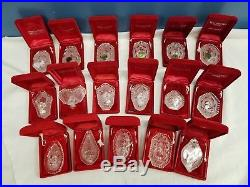 NICE SET OF 17 WATERFORD CRYSTAL ANNUAL ORNAMENTS 12 DAYS OF CHRISTMAS With BOXES