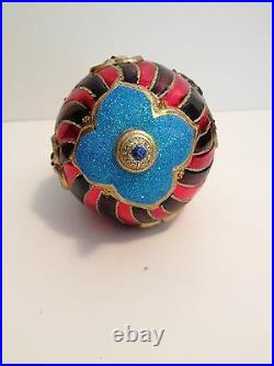 NWT/NIB Jay Strongwater Gray Seal on Circus Ball Swarovski Crystals Ornament FS
