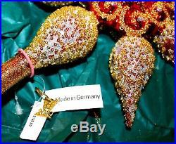 Neiman Marcus CHRISTMAS TREE TOP/FINIAL Glass Ornament SWAROVSKI CRYSTAL Germany