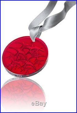 New Lalique 2018 Swallow Christmas Ornament Red #10647100 Brand Nib Crystal F/sh