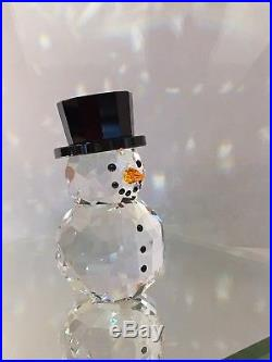 New Swarovski Crystal Snowman With Hat Figure Ornament Xmas 5135852 Bnib