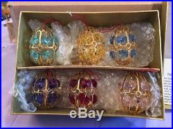 New in Box NIB Set of 6 Faberge Crystal Multi Color Egg Christmas Ornaments