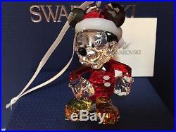 Nib $200 Swarovski Mickey Mouse Christmas Ornament Retired 2015 #5004690